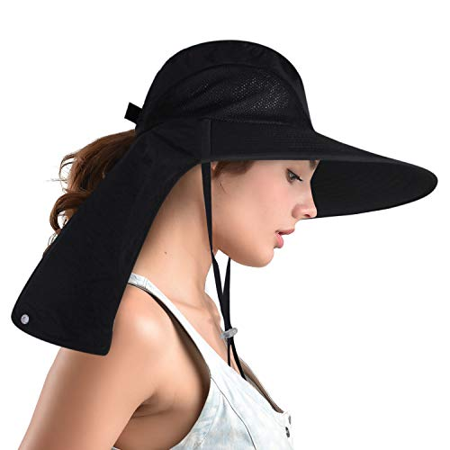 - camptrace Safari Outdoor Sun Hats Wide Brim Fishing Bucket Hat with Large Neck Flap for Women with Ponytail Packable Sun Protection Cap UPF 50+ for Hunting Hiking Camping (Black, One Size)