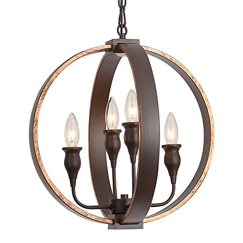 (Rustic Vintage Chandeliers Bronze Orb Steel Hanging 4-Light Globe Chandelier Ceiling Fixture for Dining Room, Foyer, Entryway,Farmhouse)