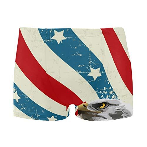 - Bald Eagle American Flag Men's Jammer Swimsuit Solid Square Leg Swimwear Surf Black