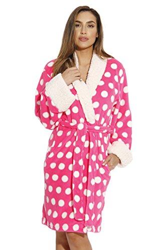 Just Love Sherpa Trim Plush Robe for Women - Polka Dot