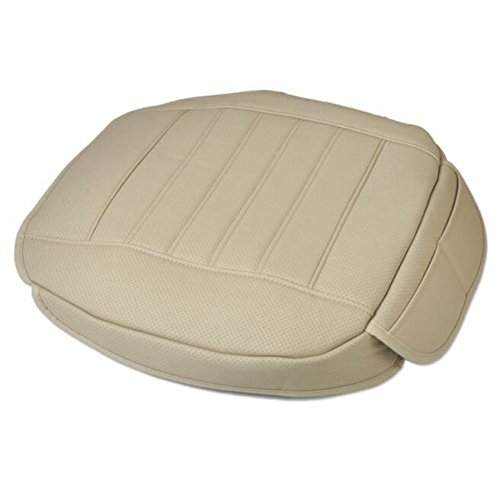 EDEALYN PU Leatherette Soft Car Seat Cover Pad Mat Auto Car Chair Cushion No back of a chair,1pcs front row seat cover (Beige-B)