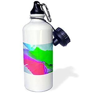 3dRose Florene Foil Abstract Art - Image of Lime And Coral Foil Abstract Photo Art - 21 oz Sports Water Bottle (wb_245234_1)