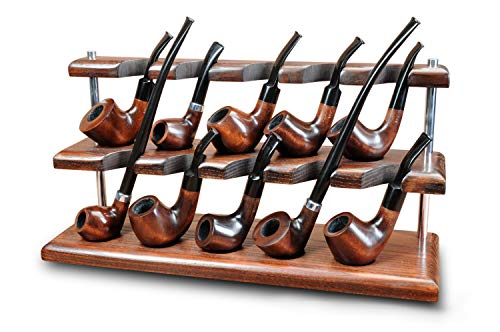 Wooden Tobacco Pipe Stand Rack Case Display Holder for 10 Smoking Pipes Hand Carved by KAFpipeWorkshop from Solid AshTree Wood