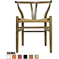 2xhome - Walnut - Wishbone Wood Arm Chair Armchair Modern Walnut with Natural Woven Seat Dining Room Chair