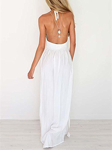 Lilbetter Crochet Plage Féminin Maxi Licol Dos Nu Bohème Longue Robe 1 Blanc
