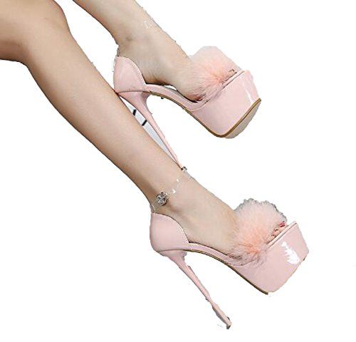Sky-Pegasus Sexy High-Heeled Sandals High-Heel Shoes for Woman 4 Colours Size 34-40 White Black Red Pink,Pink,4