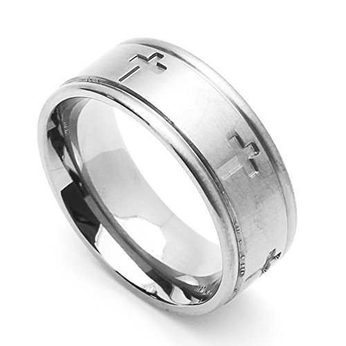 8MM Comfort Fit Stainless Steel Wedding Band Cross Ring (Size 6 to 14) Size 12.5