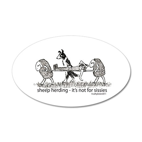 CafePress - Sheep Herding Sissies 22X14 Oval Wall Peel - 20x12 Oval Wall Decal, Vinyl Wall Peel, Reusable Wall Cling