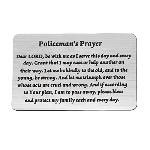 FEELMEM Policeman Gifts Policeman's Prayer Metal Wallet Insert Thin Blue Line Cop Gift for Police Officer Police Academy Graduates (wc-Policeman) (Questions To Ask A Cop About His Job)