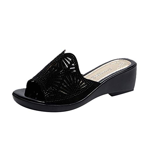 Respctful✿Women's Wedge Sandals Slip-On Open Back Espadrille High Heel Platform Open Toe Flip Flops Summer Slipper Black
