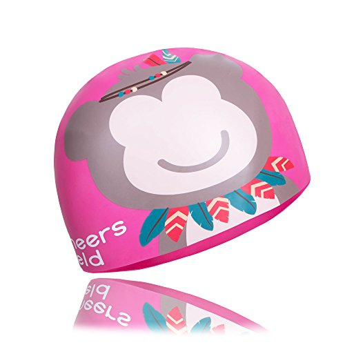 ZDHGLOBAL Kids Solid Silicone Swim Cap for Children Boys Girls, Wrinkle Free Great Elasticity, Waterproof Keeps Hair Clean & (Wrinkle Free Silicone Cap)