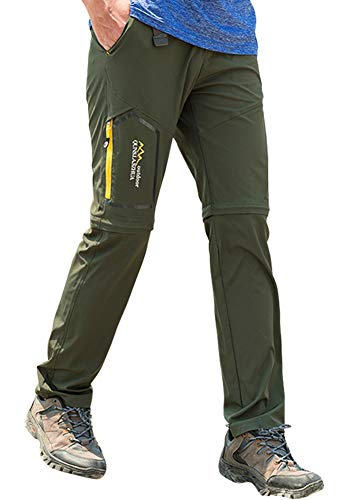 Mens Hiking Stretch Pants Convertible Quick Dry Lightweight Zip Off Outdoor Travel Safari Pants (818 Army Green 34)