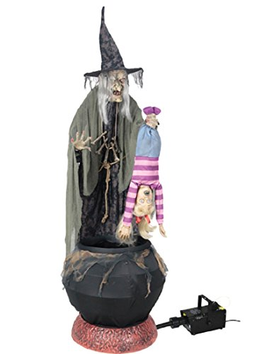 (Seasonal Visions Animated Stew Brew Witch Prop with Fog Machine)