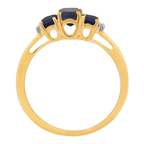 Jewelili femme  9carats (375/1000)  Or jaune|#Gold Emeraude   Bleu Saphir Topas FASHIONRING