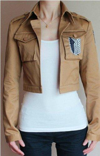 Brown Custom Hooded Sweatshirt (Attack on Titan Scouting Legion Cosplay Custom Jacket, Khaki, Medium)