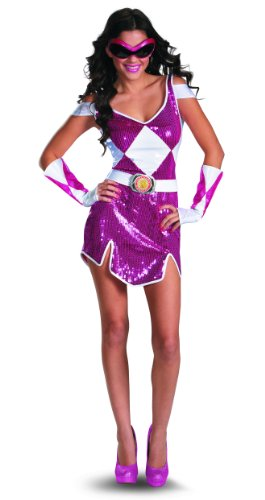 [Disguise Sabans Mighty Morphin Power Rangers Pink Ranger Glam Womens Adult Costume, Pink/White,] (Power Ranger Costume Female)