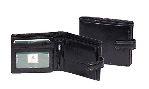 Herren Echtes Italienisches Leder Geldbörse SCHWARZ Luxuriöse Karten ID Notizen Münzen Sektionen Boxed - Link