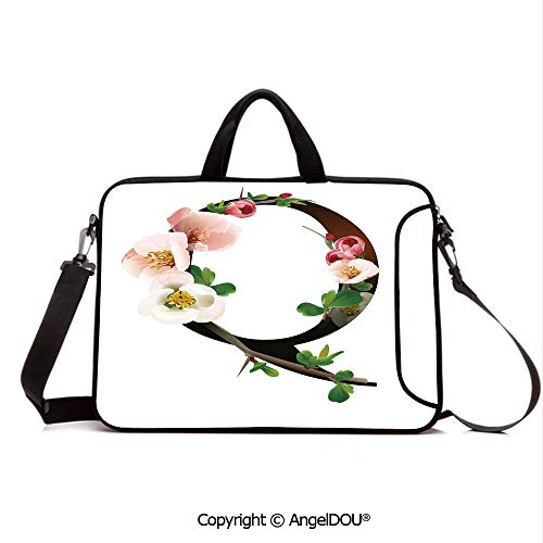 AngelDOU Laptop Shoulder Bag Waterproof Neoprene Computer Case Q Letter Surrounded with Pinkish Quince Flowers and Buds Abstract Spring Inspire with Handle Adjustable Shoulder Strap and External Sid