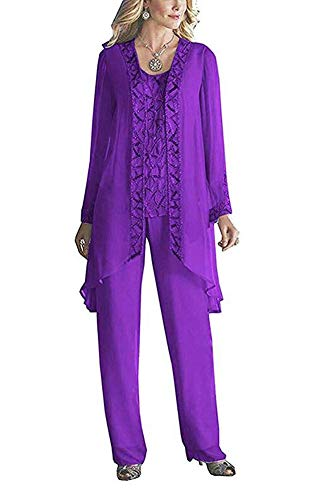Women's Purple Elegant Mother of The Bride Pant Suits for Wedding 3 Pieces Beaded Outfits US10 (Beaded 3 Piece Pant)