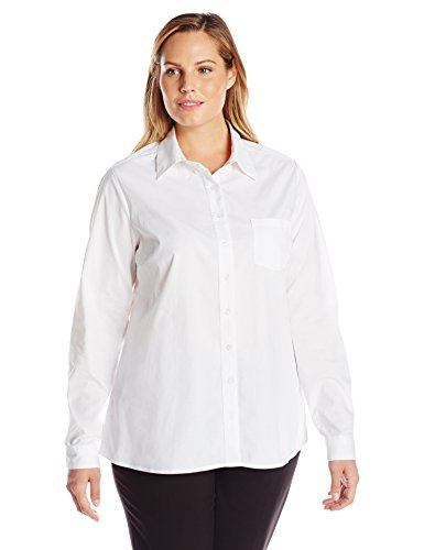 Dickies Long Sleeve Oxford Shirt (Dickies Girl Juniors Plus Size Long Sleeve Shirt, White, 1X)