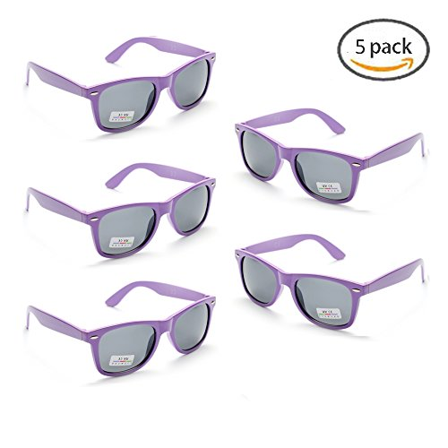 100% UV Protection Wholesale Multi PACK Unisex 80'S Retro Style Promotional Sunglasses, Purple (Lavender 5-pack)