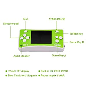 E-WOR Christmas Best Gift 2.5″ LCD 8-Bit Retro 152x Video Games + 12-Bit Retro 10x Video Games Portable Handheld Console for Kids(GREEN)