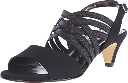 Womens Petal Slingback Sandal (Rose Petals by Walking Cradles Women's Lively Slingback,Black Microfiber,US 5 M)