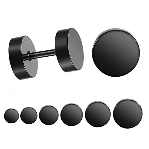 LIEBLICH Black Stud Earrings Men Women Faux Gauges Ear Tunnel Stainless Steel Earrings 6 Pairs 5mm-10mm