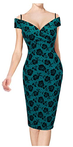 HOMEYEE Womens Vintage Elegant Printed Floral V-Neck Sling Dress B309