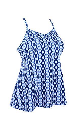 - JINXUEER Women's Plus Size Flowy Swimsuit Crossback Tankini Top Modest Swimwear (Bluewhite, 18)