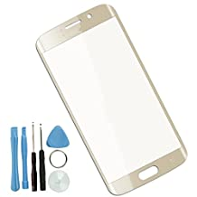 Sunways Front Outer Screen Glass Lens Replacement for Samsung Galaxy S6 edge G925 with Free Tools (Gold)