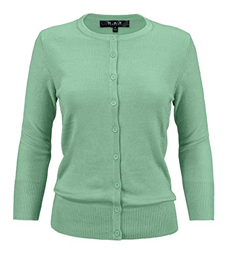 (Women's Crewneck Button Down Knit Cardigan Sweater Vintage Inspired,Spring Green,Small)