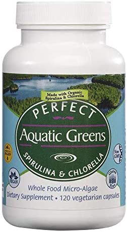 Perfect Organic Aquatic Greens – Spirulina and Chlorella – 120 Vegetable Capsules