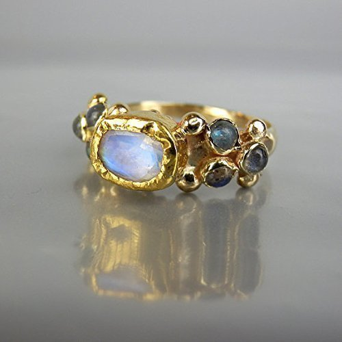 Unique 14k 24k Solid Yellow Gold Rainbow Moonstone and Labradorite Engagement Ring ()