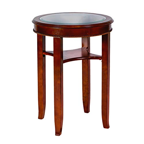 - All Things Cedar HR34 Glass Tea Table, Cherry