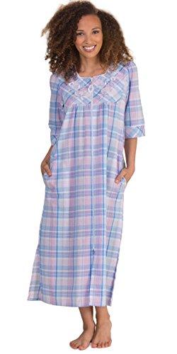Miss Elaine Women's Seersucker Long Zip Robe, Blue/Pink/White Plaid, - Elaine Zip Front Miss