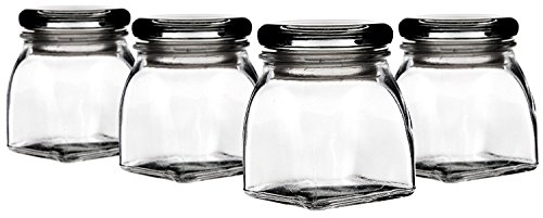 Palais Glassware 3 Ounce Clear Glass Spice Jar with Glass Lid - Contemporary Square Finish