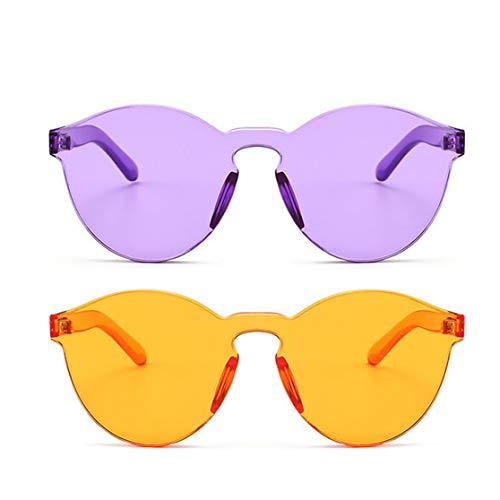 Armear Oversized One Piece Rimless Purple Orange Tinted Sunglasses 2 Pack