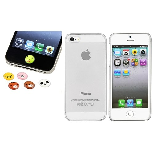 Klar Dünn hart Tasche Case+6pc Tier Home Button Aufkleber für Apple iPhone 5
