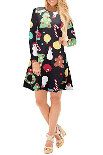 ... YMING Damen Langarm Kleid Lose T-Shirt Kleid Rundhals Casual Tunika  Mini Kleid 14 Farben ... df1408c69b