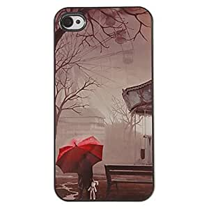 QHY Lonely Red Umbrella in the Rain Pattern PC Hard Case with 3 Packed HD Screen Protectors for iPhone 4/4S