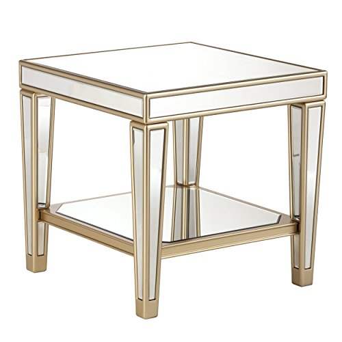 - Mirrored Table - Silver Mirror w/Champagne Accents - Glam Style Table (End Table)