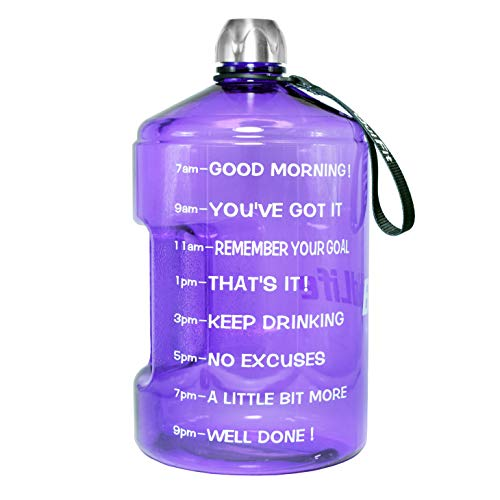 BuildLife 1 Gallon Water Bottle Motivational Fitness Workout with Time Marker/Drink More Daily/Clear BPA Free/Large 128OZ Capacity Throughout The Day(Light Purple, 1 Gallon)