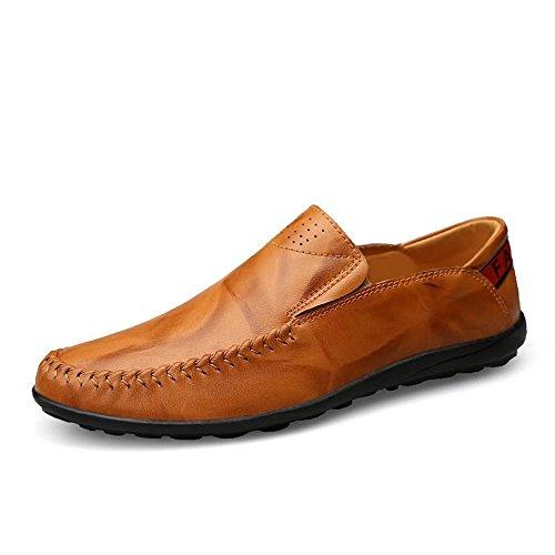 Zapatos Conducción Ocio Cómodos Deslizan Se Hombres Sobre Brown Mocasines De Los Yellow TAxEqwC8Sn