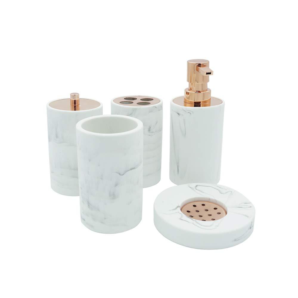 COOSA Ceramic Bathroom Accessories Set, 5 Pieces Bath Ensemble, Bath Set Collection Marble Pattern Soap Dispenser Pump, Toothbrush Holder, Tumbler, Cotton Tank,Soap Dish (Marble Design-2)