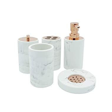 COOSA Ceramic Bathroom Accessories Set, 5 Pieces Bath Ensemble, Bath Set Collection Marble Pattern Soap Dispenser Pump, Toothbrush Holder, Tumbler, Cotton Tank,Soap Dish (Marble Design-2)