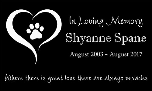 Personalized Pet Stone Memorial Marker Granite Marker Dog Cat Horse Bird Human 6'' X 10'' Personalised Dalmatian Doberman Pinscher by Pet Stones USA (Image #3)