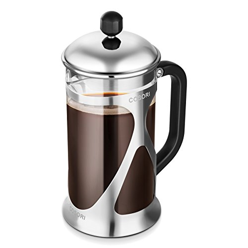 French Press Coffee Maker , Cosori Coffee Tea Press with 304 Grade Stainless Steel, Heat Resistant Borosilicate Glass and 4 Level Filtration System ( 8 Cup 34 Oz, 1 Liter )