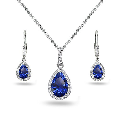 Sterling Silver Created Blue Sapphire & White Topaz Teardrop Halo Dangling Necklace & Leverback Earrings