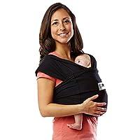 Baby K'tan Original Baby Wrap Carrier, Infant and Child Sling - Soporte de envoltura simple para usar con el bebé - Sin anillos ni hebillas - Lleve al recién nacido hasta 35 lb, negro, mujeres 6-8 (pequeñas), hombres 37-38